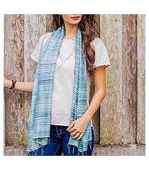 silk scarf, 'teal iridescence' (thailand)