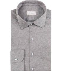 camicia da uomo su misura, maglificio maggia, marrone melange piquet cotone, quattro stagioni   lanieri