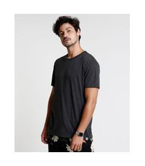 camiseta masculina manga curta básica gola careca cinza mescla escuro