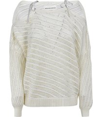 ermanno scervino stripe patterned perforated sweater