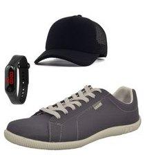 kit sapatênis casual masculino chumbo + relógio + boné super kit com 3 itens