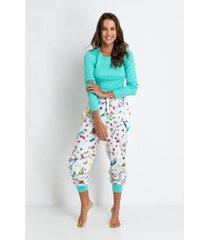 conjunto de pijama acuo longo meia malha e ribana formiguinha feminino