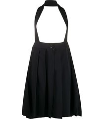 comme des garçons girl halter-neck pleated pinafore skirt - black