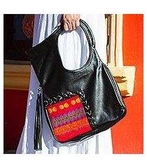 cotton accented leather handle handbag, 'mod companion' (mexico)