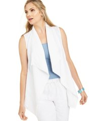 charter club frayed-trim linen-blend draped vest, created for macy's