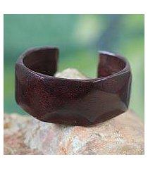 leather cuff bracelet, 'dasba in dark brown' (ghana)