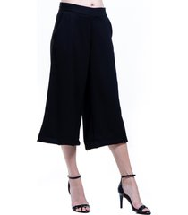 calça 101 resort wear pantacourt crepe preto