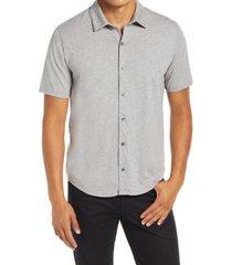 men's vince short sleeve button-up knit shirt