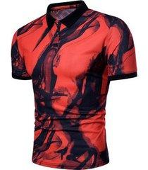 camiseta de manga corta de solapa delgada con estampado de tinta de primavera / verano para hombres nuevos