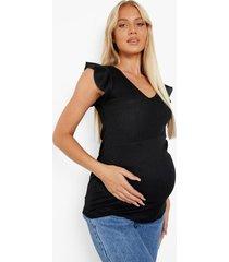 zwangerschap gerecycled geribbeld hemdje met franjes, black