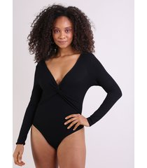 body feminino com trasnpasse manga longa decote em v preto