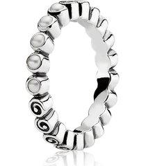 anel de prata botão de rosa com pérolas