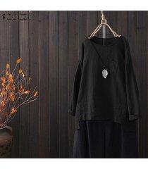 zanzea camisa de manga murciélago para mujer tops camisa asimétrica dividida blusa con cuello redondo más -negro