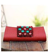 beaded clutch handbag, 'red radiance' (india)