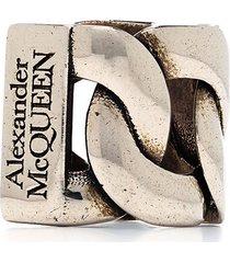 alexander mcqueen chain ear cuff - silver