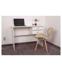 kit escrivaninha com gaveteiro branca + 01 cadeira eiffel slim - nude