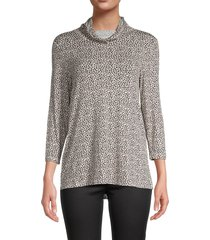 bobeau women's leopard-print face mask cowlneck top - taupe animal - size m