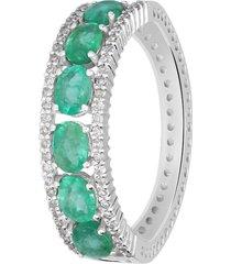 anello in oro bianco, smeraldi 0,96 ct e diamanti 0,22 ct per donna