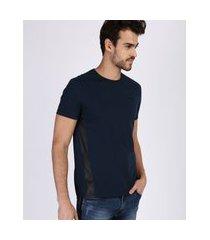 camiseta masculina com recortes manga curta gola careca azul marinho
