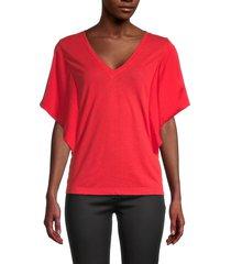bcbgmaxazria women's v-neck linen-blend top - red - size s