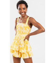 penny floral ruffle palm tier romper - yellow