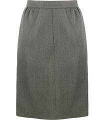yves saint laurent pre-owned 1980's straight tailored skirt - grey