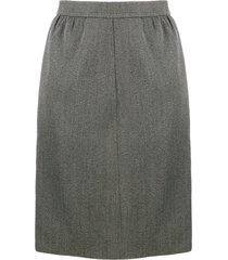 yves saint laurent pre-owned 1980's straight tailored skirt - grey