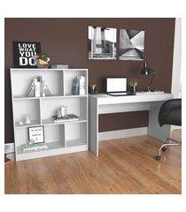 conjunto para escritório nova mobile mesa e estante 6 nichos