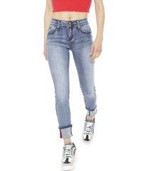 jeans wados roll up celeste - calce ajustado