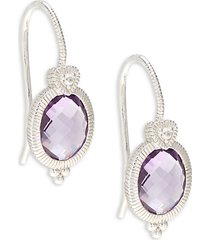 ambrosia sterling silver, amethyst & white topaz drop earrings