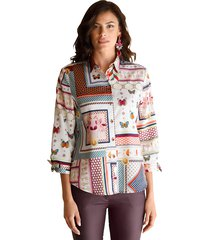 blouse amy vermont wit::beige::blauw::rood