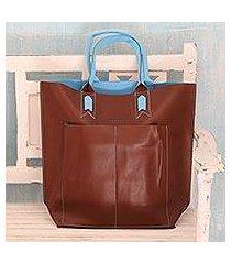 handcrafted tote handbag, 'versatile chocolate' (india)