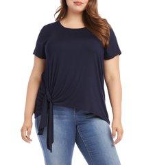 plus size women's karen kane asymmetrical side tie short sleeve top, size 0x - blue