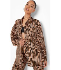 baggy monochrome zebraprint blouse, sand