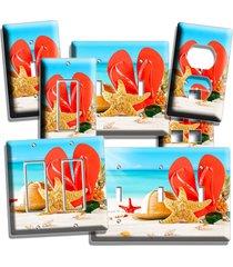 summer vacation beach flip flops sea starfish sun light switch wall plate outlet