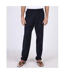 calça de pijama masculina em flanela com bolso traseiro azul marinho