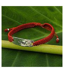 sterling silver accent wristband bracelet, 'peace in scarlet' (thailand)