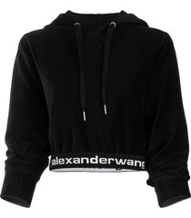 cropped logo elastic corduroy hoodie black
