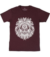 camiseta stoned tribal lion masculina