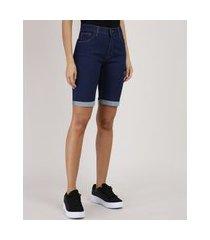 bermuda jeans feminina ciclista cintura média barra dobrada azul escuro