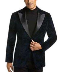 joseph abboud black label teal floral slim fit dinner jacket