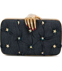rewind vintage affairs hand embellished clutch - blue