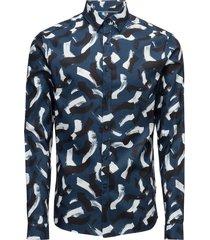 galen paint print overhemd casual blauw calvin klein