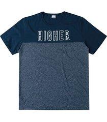 camiseta tradicional estampada higher wee! azul escuro - p