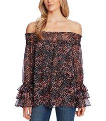 cece floral-print off-the-shoulder top