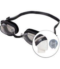 kit de natação speedo swim com óculos + touca + protetor de ouvido - adulto - preto