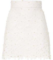 bambah lace crochet mini skirt - white