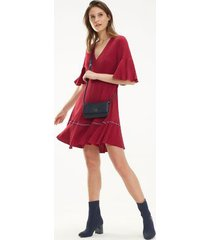 tommy hilfiger women's fit and flare dress beet red - 2