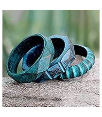 wood bangle bracelets, 'turquoise treasure' (set of 3) (india)