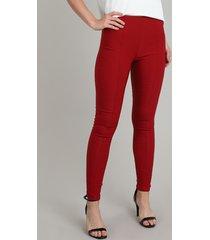 calça legging feminina com friso vermelha